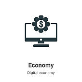 Economy vector icon on white background. Flat vector economy icon symbol sign from modern digital economy collection for mobile concept and web apps design.