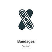 Bandages vector icon on white background. Flat vector bandages icon symbol sign from modern fashion collection for mobile concept and web apps design.