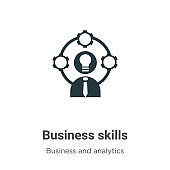 Business skills vector icon on white background. Flat vector business skills icon symbol sign from modern business and analytics collection for mobile concept and web apps design.