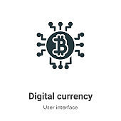 Digital currency vector icon on white background. Flat vector digital currency icon symbol sign from modern user interface collection for mobile concept and web apps design.
