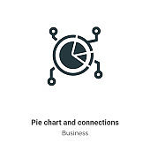 Pie chart and connections vector icon on white background. Flat vector pie chart and connections icon symbol sign from modern business collection for mobile concept and web apps design.