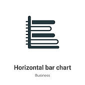 Horizontal bar chart vector icon on white background. Flat vector horizontal bar chart icon symbol sign from modern business collection for mobile concept and web apps design.