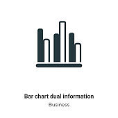 Bar chart dual information vector icon on white background. Flat vector bar chart dual information icon symbol sign from modern business collection for mobile concept and web apps design.