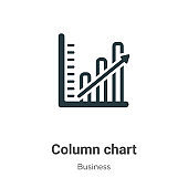 Column chart vector icon on white background. Flat vector column chart icon symbol sign from modern business collection for mobile concept and web apps design.