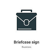 Briefcase sign vector icon on white background. Flat vector briefcase sign icon symbol sign from modern business collection for mobile concept and web apps design.
