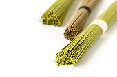 Assortment of asian soba, green tea noodles isolated on white background.Copy space for Text.Minimalist concept.