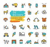 Set of linear icons on the theme of circus and amusement Park