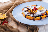 Autumn Cake Fragrant Pastry Pumpkin Cranberry Leaves