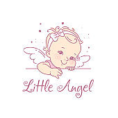 Baby girl as princess. Logo for baby product.