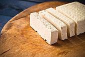 Slices of raw tofu
