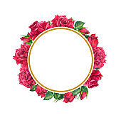 Red roses, golden round border. Watercolor round frame with flowers and gold for Valentine day