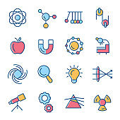 Physics vector icon set