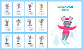 Calendar for 2020 from Sunday to Saturday. Cute rats in different costumes. The symbol of the Chinese New Year. Mouse cartoon character. Funny animal.