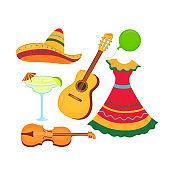 Cinco de Mayo. 5th of May. Sombrero, guitar, violin, margarita. Traditional Mexican clothing and musical instruments