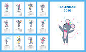 Calendar for 2020 from Sunday to Saturday. Cute rats in different costumes. The symbol of the Chinese New Year. Mouse cartoon character. Funny mice.