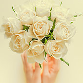 Fresh white roses bouquet