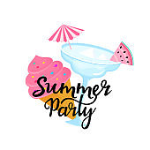 Summer party hand drawn lettering with Margarita cocktail with umbrella and slice of watermelon. Ice cream in a waffle cone. Can be used as t-shirt design.