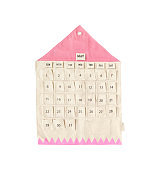 Closeup cute fabric hanging calendar in may month isolated on white background
