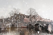 Amsterdam dull view in winter snowfall