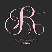 Letter R copperplate calligraphy monogram design
