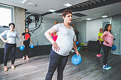 Group of pregnant women training