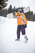 Amputee Snowboarder with Prosthetic Leg