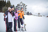 Amputee Snowboarder with friends