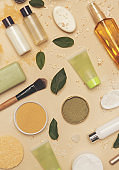 Natural organic cosmetic flat lay. Home spa concept. Skin, body and hair care products.