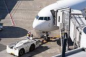 Airplane  at jet bridge in airport