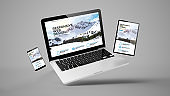 flying tablet, laptop and mobile phone showing responsive web design