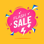 Flash sale banner in flat cartoon style. Comic cloud text box. Pink speech bubble with explosion effect. Promo badge for your design. Creative discount label. Vector illustration.