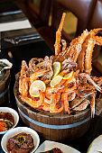 seafood on ice bucket