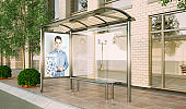 bus stop poster fashion sale mockup