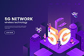 5G network wireless technology vector illustration. Isometric smart city with big letters 5g and tiny people. Modern city connected to global network. Internet in urban environment. Eps 10.