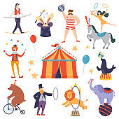 Set of circus artists and animals in a flat cartoon style. Elements of circus show. Fun fair tent. Vector illustration.