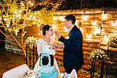 Bride and a groom is cutting, eating rustic wedding cake outdoors. Hands cut the cake with delicate blue and white flowers. Couple in magical evening forest decorated light garlands. Night ceremony.