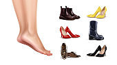 Vector illustration of female feet standing on finger toes and collection of different shoes on background