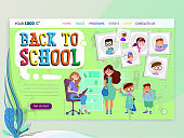 Horizontal banner set- back to school and sale, flat style with geometric figures and characters.
