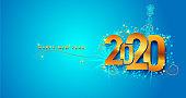 New Year 2020 line design firework champagne gold shining. Flyers, banner, greetings, invitations, christmas themed congratulations. Vector illustration. Isolated on blue background