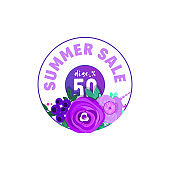 Summer sale banners set decorate with flowers and plants.