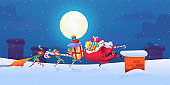 Vector santa claus with elves with present bags