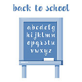 Back to school - font banner, Latin alphabet for the design of posters, prints