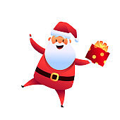 Vector cartoon santa claus with present box