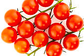 mini round bright tomatoes ripe cherry twig on a white background isolated vegetable