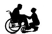 Home caregiver with senior man in wheelchair, black and white silhouette