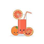 Cute kawai smiling cartoon grapefruit juice Vector