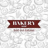 Bread types of bakery shop vector design