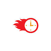 Fast time delivery icon. stopwatch in motion. deadline concept design. clock speed, flat time icon vector illustration