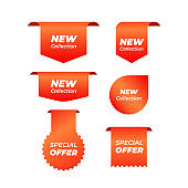 Price tags vector collection. Ribbon sale banners isolated. New collection offers vector sticker designs