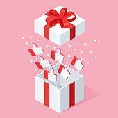 Opened gift box with thumbs up isolated on pink background. 3d isometric package, surprise with confetti. Testimonials, feedback, customer review concept. Vector cartoon design